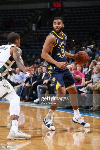 Cory Joseph of the Indiana Pacers handles the ball during a preseason game against the Milwaukee Bucks on October 4 2017 at the BMO Harris Bradley...