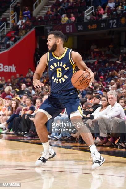 Cory Joseph of the Indiana Pacers handles the ball during the preseason game against the Cleveland Cavaliers on October 6 2017 at Quicken Loans Arena...