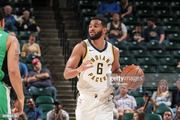 Cory Joseph of the Indiana Pacers handles the ball during the preseason game against the Maccabi Haifa on October 10 2017 at Bankers Life Fieldhouse...