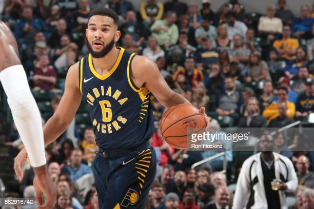 Cory Joseph of the Indiana Pacers handles the ball during the season game against the Brooklyn Nets on October 18 2017 at Bankers Life Fieldhouse in...