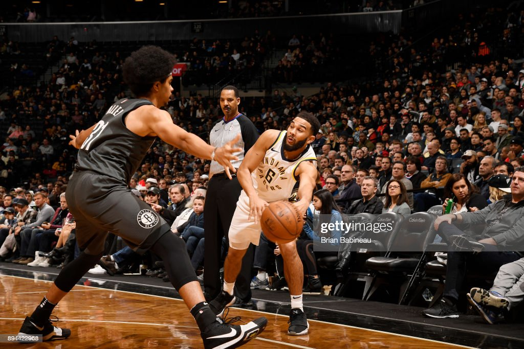 Cory Joseph #6 of the Indiana Pacers passes the ball against the Brooklyn Nets on December 17, 2017 at Barclays Center in Brooklyn, New York.