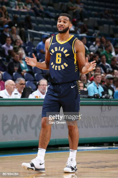 Cory Joseph of the Indiana Pacers reacts during a preseason game against the Milwaukee Bucks on October 4 2017 at the BMO Harris Bradley Center in...