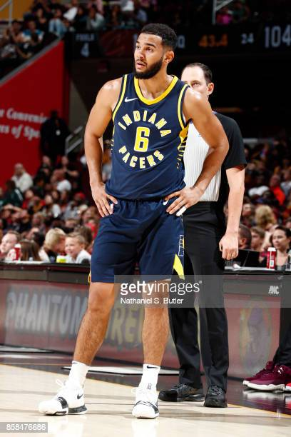 Cory Joseph of the Indiana Pacers reacts during the preseason game against the Cleveland Cavaliers on October 6 2017 at Quicken Loans Arena in...