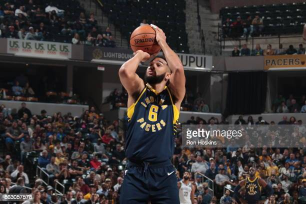 Cory Joseph of the Indiana Pacers shoots a free throw against the Brooklyn Nets on October 18 2017 at Bankers Life Fieldhouse in Indianapolis Indiana...