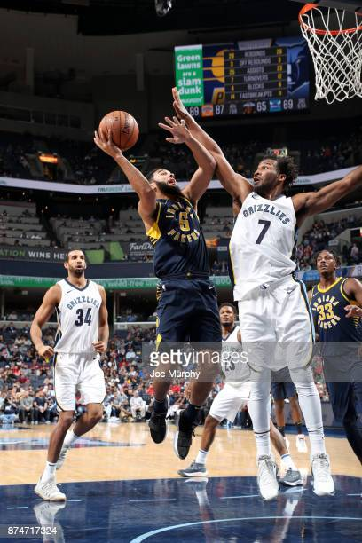 Cory Joseph of the Indiana Pacers shoots the ball against the Memphis Grizzlies on November 15 2017 at FedExForum in Memphis Tennessee NOTE TO USER...