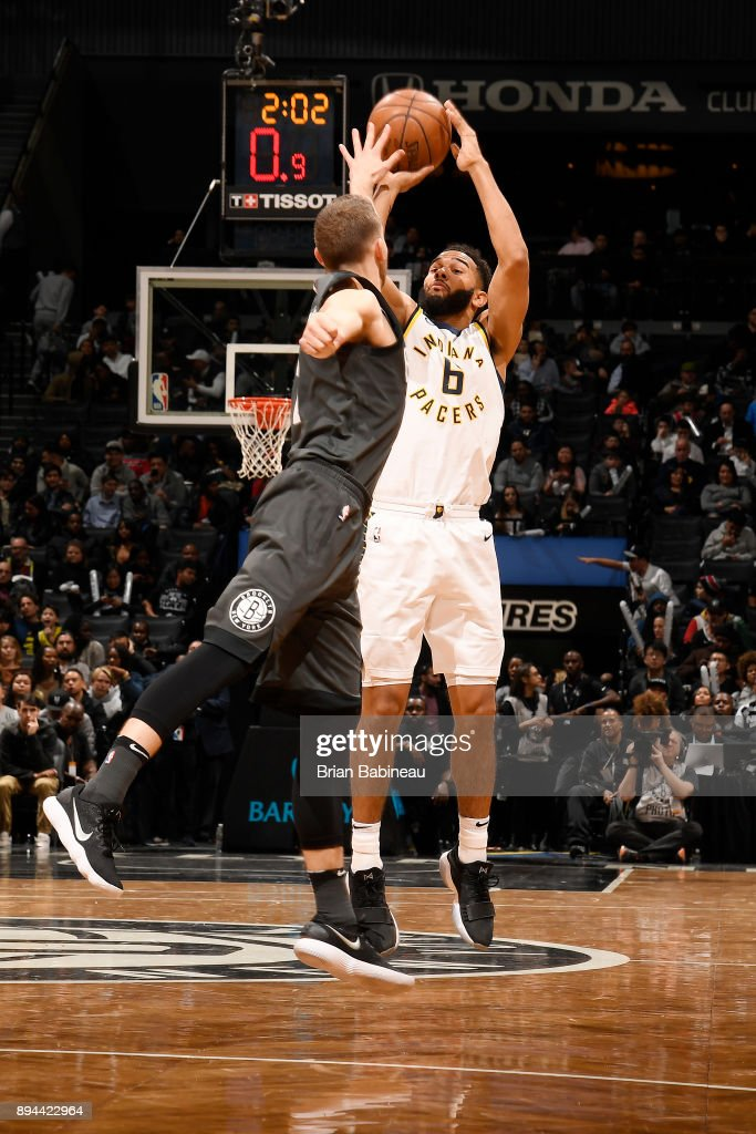 Cory Joseph #6 of the Indiana Pacers shoots the ball against the Brooklyn Nets on December 17, 2017 at Barclays Center in Brooklyn, New York.
