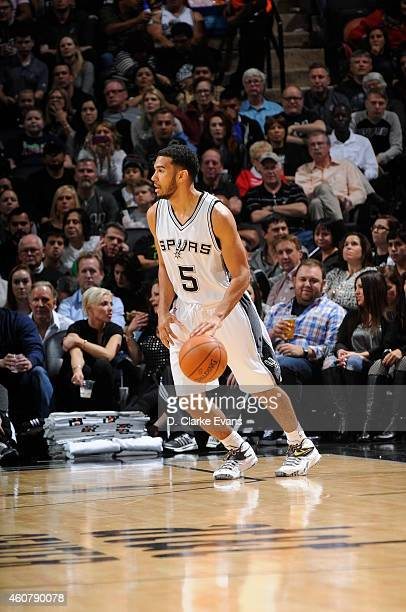 Cory Joseph of the San Antonio Spurs brings the ball up court against the Los Angeles Clippers on December 22 2014 at the ATT Center in San Antonio...