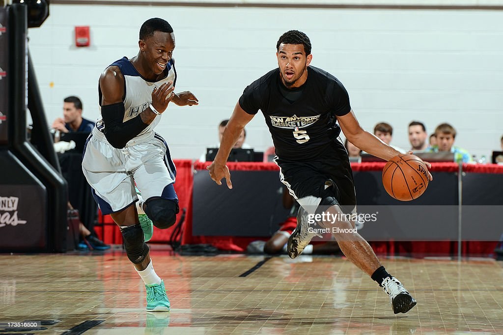 Cory Joseph #5 of the San Antonio Spurs dribbles up the court against the Atlanta Hawks during NBA Summer League on July 15, 2013 at the Cox Pavilion in Las Vegas, Nevada.