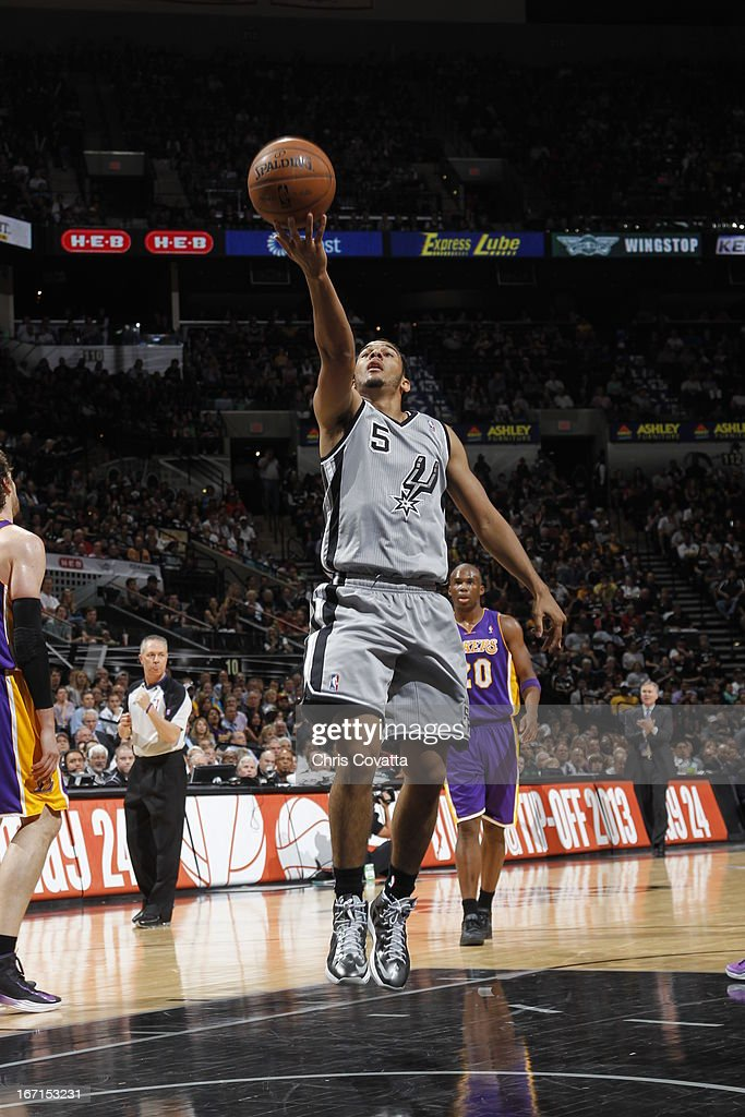 Cory Joseph #5 of the San Antonio Spurs goes to the basket during the Game One of the Western Conference Quarterfinals between the Los Angeles Lakers and the San Antonio Spurs on April 21, 2013 at the AT&T Center in San Antonio, Texas.