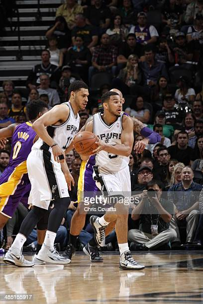 Cory Joseph of the San Antonio Spurs handles the ball against the Los Angeles Lakers on April 16 2014 at the ATT Center in San Antonio Texas NOTE TO...