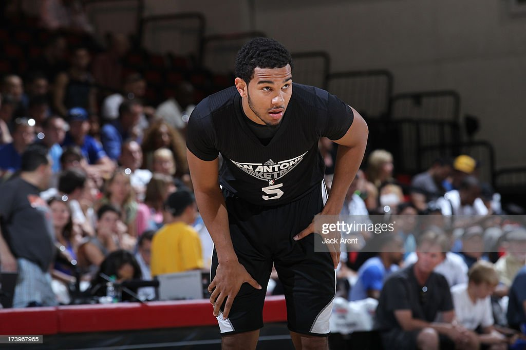 Cory Joseph #5 of the San Antonio Spurs looks on against the Cleveland Cavaliers during NBA Summer League on July 18, 2013 at Cox Pavilion in Las Vegas, Nevada.