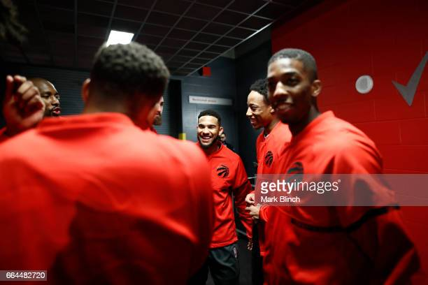 Cory Joseph of the Toronto Raptors before the game against the Charlotte Hornets on March 29 2017 at the Air Canada Centre in Toronto Ontario Canada...