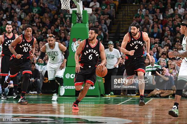 Cory Joseph of the Toronto Raptors brings the ball up court against the Boston Celtics on March 23 2016 at the TD Garden in Boston Massachusetts NOTE...