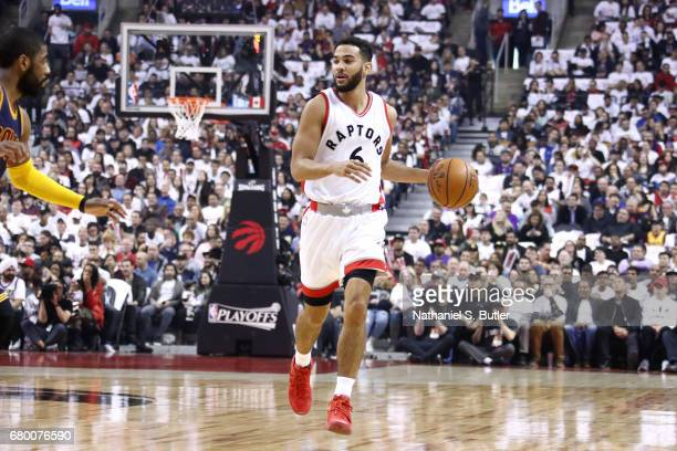 Cory Joseph of the Toronto Raptors brings the ball up court during the game against the Cleveland Cavaliers in Game Four of the Eastern Conference...