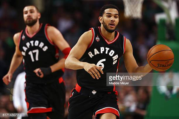 Cory Joseph of the Toronto Raptors carries the ball against the Boston Celtics during the second quarter at TD Garden on March 23 2016 in Boston...