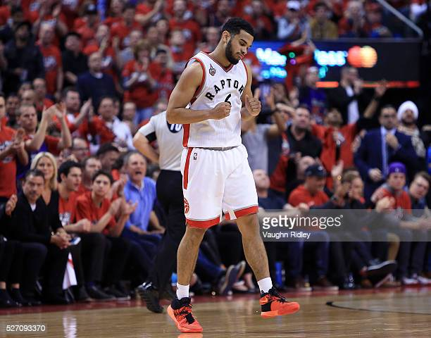 Cory Joseph of the Toronto Raptors celebrates late in the second half of Game Seven of the Eastern Conference Quarterfinals against the Indiana...
