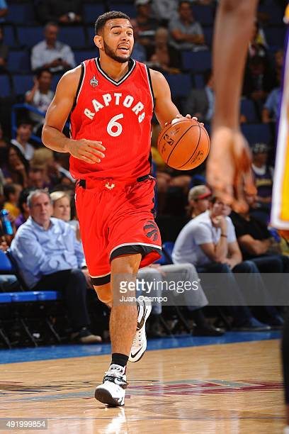 Cory Joseph of the Toronto Raptors dribbles the ball against the Los Angeles Lakers during a preseason game on October 08 2015 at Citizens Bank Arena...