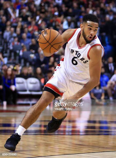 Cory Joseph of the Toronto Raptors dribbles the ball during the second half of an NBA game against the Indiana Pacers at Air Canada Centre on March...