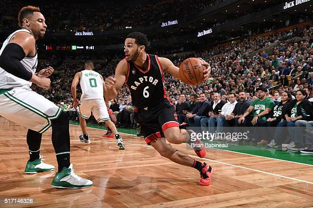 Cory Joseph of the Toronto Raptors drives to the basket against the Boston Celtics on March 23 2016 at the TD Garden in Boston Massachusetts NOTE TO...