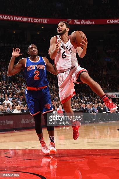 Cory Joseph of the Toronto Raptors goes for the layup against Langston Galloway of the New York Knicks during the game on November 10 2015 at Air...