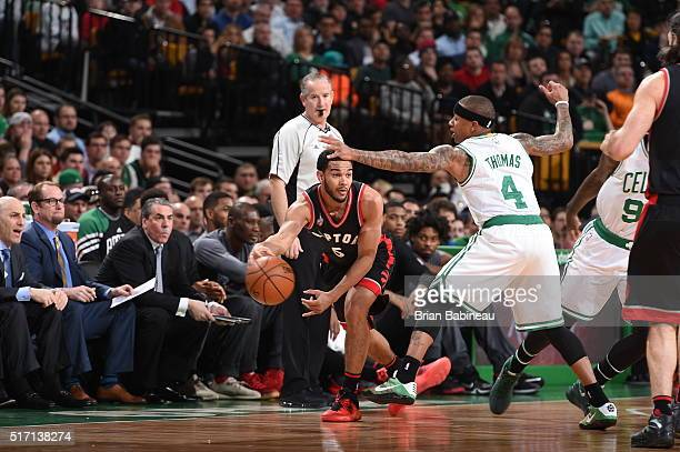 Cory Joseph of the Toronto Raptors handles the ball against Isaiah Thomas of the Boston Celtics on March 23 2016 at the TD Garden in Boston...