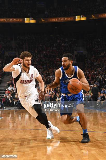 Cory Joseph of the Toronto Raptors handles the ball against the Miami Heat on April 7 2017 at the Air Canada Centre in Toronto Ontario Canada NOTE TO...