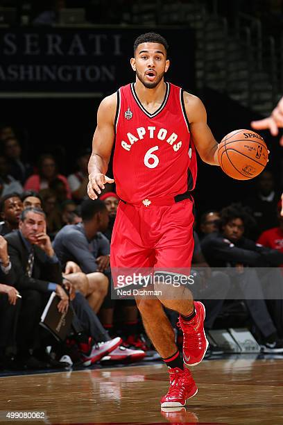 Cory Joseph of the Toronto Raptors handles the ball against the Washington Wizards on November 28 2015 at Verizon Center in Washington DC NOTE TO...