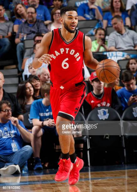 Cory Joseph of the Toronto Raptors handles the ball against the Dallas Mavericks on March 25 2017 at the American Airlines Center in Dallas Texas...