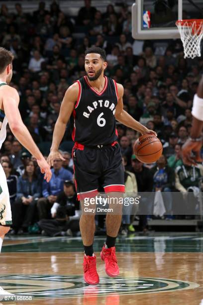 Cory Joseph of the Toronto Raptors handles the ball against the Milwaukee Bucks during Game Six of the Eastern Conference Quarterfinals of the 2017...
