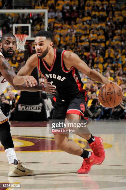 Cory Joseph of the Toronto Raptors handles the ball against the Cleveland Cavaliers during Game One of the Eastern Conference Semifinals of the 2017...