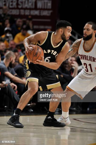 Cory Joseph of the Toronto Raptors handles the ball against the Cleveland Cavaliers during Game Two of the Eastern Conference Semifinals of the 2017...