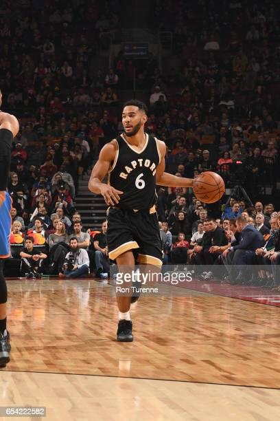 Cory Joseph of the Toronto Raptors handles the ball during a game against the Oklahoma City Thunder on March 16 2017 at the Air Canada Centre in...