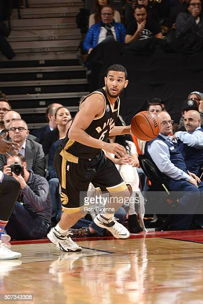 Cory Joseph of the Toronto Raptors handles the ball during the game against the New York Knicks on January 28 2016 at the Air Canada Centre in...