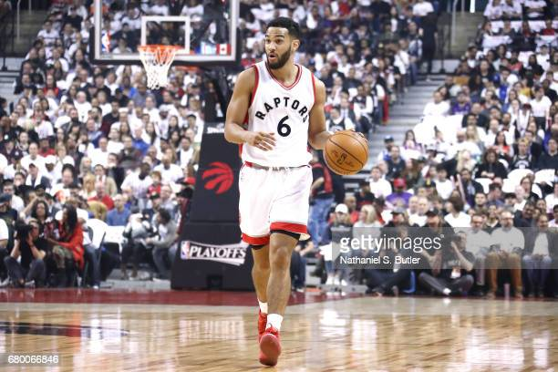 Cory Joseph of the Toronto Raptors handles the ball during the game against the Cleveland Cavaliers in Game Four of the Eastern Conference Semifinals...