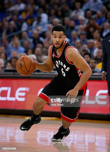 Cory Joseph of the Toronto Raptors in action against the Golden State Warriors at ORACLE Arena on November 17 2015 in Oakland California NOTE TO USER...