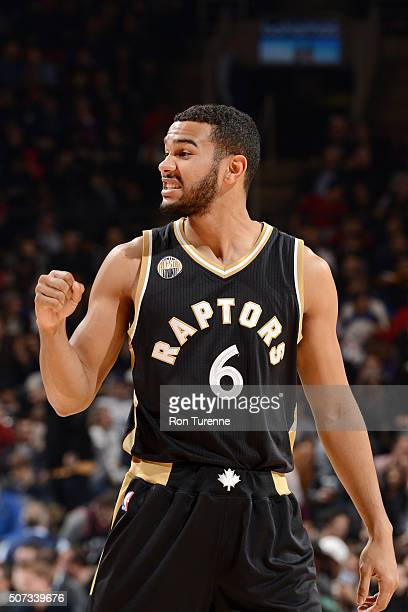 Cory Joseph of the Toronto Raptors looks on during the game against the New York Knicks on January 28 2016 at the Air Canada Centre in Toronto...