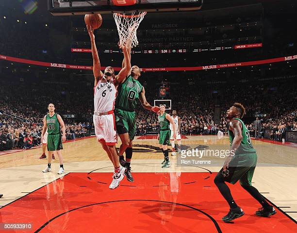 Cory Joseph of the Toronto Raptors shoots the ball against the Boston Celtics on January 20 2016 at the Air Canada Centre in Toronto Ontario Canada...