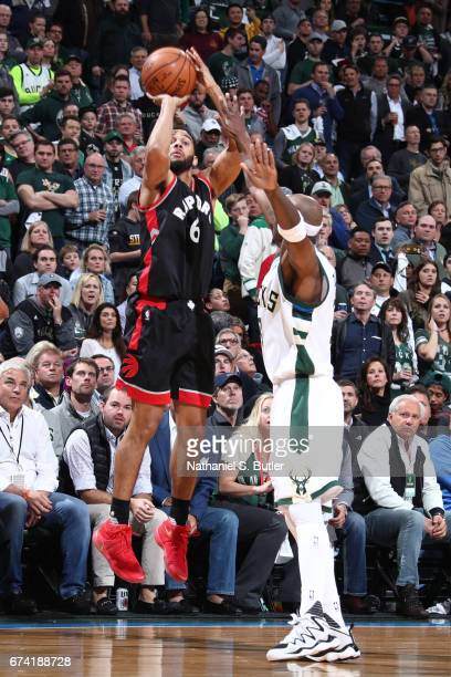 Cory Joseph of the Toronto Raptors shoots the ball against the Milwaukee Bucks during Game Six of the Eastern Conference Quarterfinals of the 2017...