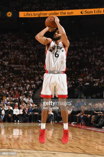 Cory Joseph of the Toronto Raptors shoots the ball against the Cleveland Cavaliers during Game Four of the Eastern Conference Semifinals of the 2017...