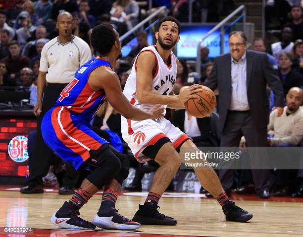 Cory Joseph of the Toronto Raptors shoots the ball as Ish Smith of the Detroit Pistons defends during the second half of an NBA game at Air Canada...