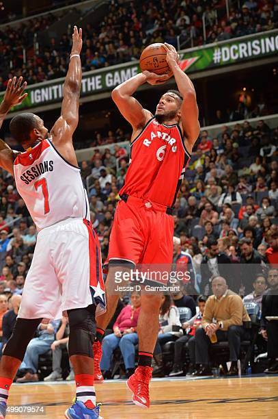 Cory Joseph of the Toronto Raptors shoots the ball during the game against the Washington Wizards on November 28 2015 at Verizon Center in Washington...
