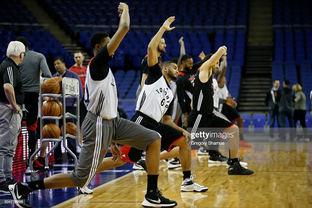Cory Joseph of the Toronto Raptors stretches during practice as part of the 2016 Global Games London on January 13, 2016 at The O2 Arena in London, England.