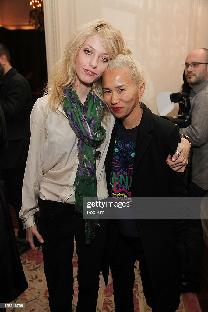 Cory Kennedy (L) and Olivia Kim attend the Derek Blasberg for Opening Ceremony Stationery launch party at the Saint Regis Hotel on December 18, 2012 in New York City.