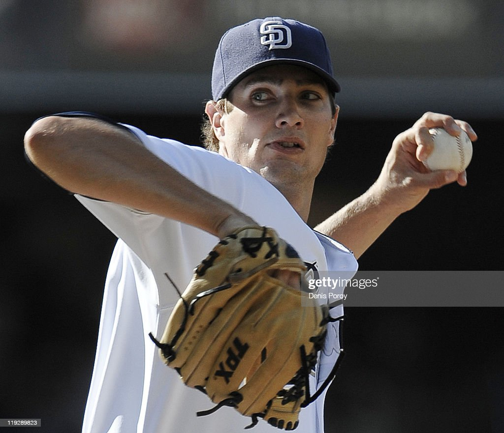 Cory Luebke #52 of the San Diego Padres pitches during the first inning of a baseball game against the San Francisco Giants at Petco Park on July 16, 2011 in San Diego, California.