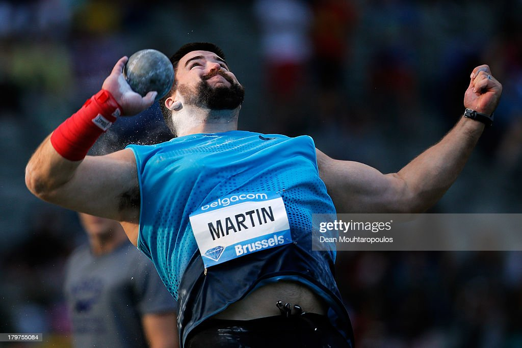 Cory Martin of USA competes in the Mens Shot Put during the 2013 Belgacom Memorial Van Damme IAAF Diamond League meet at The King Baudouin Stadium on September 6, 2013 in Brussels, Belgium.