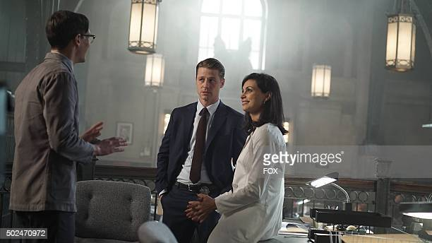 Cory Michael Smith Benjamin McKenzie and Morena Baccarin in the Rise of the Villains Scarification episode of GOTHAM airing Monday Oct 19 on FOX