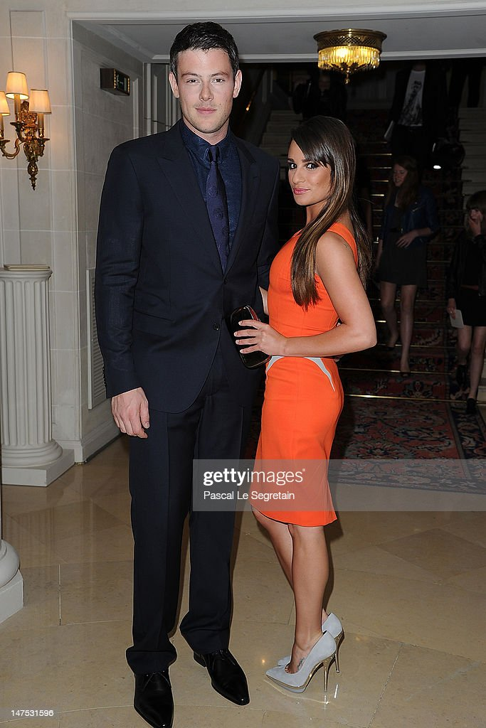 <a gi-track='captionPersonalityLinkClicked' href=/galleries/search?phrase=Cory+Monteith&family=editorial&specificpeople=4491048 ng-click='$event.stopPropagation()'>Cory Monteith</a> and <a gi-track='captionPersonalityLinkClicked' href=/galleries/search?phrase=Lea+Michele&family=editorial&specificpeople=566514 ng-click='$event.stopPropagation()'>Lea Michele</a> arrive at the Versace Haute-Couture show as part of Paris Fashion Week Fall / Winter 2012/13 at the Ritz hotel on July 1, 2012 in Paris, France.