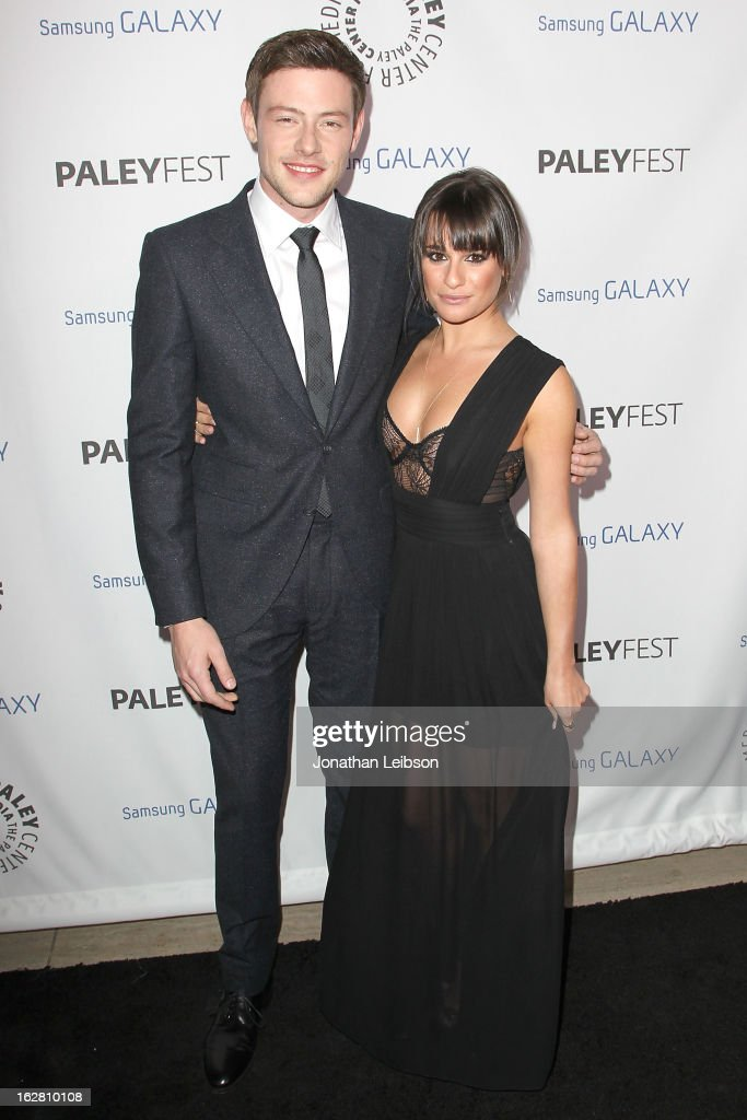<a gi-track='captionPersonalityLinkClicked' href=/galleries/search?phrase=Cory+Monteith&family=editorial&specificpeople=4491048 ng-click='$event.stopPropagation()'>Cory Monteith</a> and <a gi-track='captionPersonalityLinkClicked' href=/galleries/search?phrase=Lea+Michele&family=editorial&specificpeople=566514 ng-click='$event.stopPropagation()'>Lea Michele</a> arrive to the Inaugural PaleyFest Icon Award honoring Ryan Murphy at The Paley Center for Media on February 27, 2013 in Beverly Hills, California.