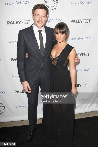 Cory Monteith and Lea Michele arrive to the Inaugural PaleyFest Icon Award honoring Ryan Murphy at The Paley Center for Media on February 27 2013 in...
