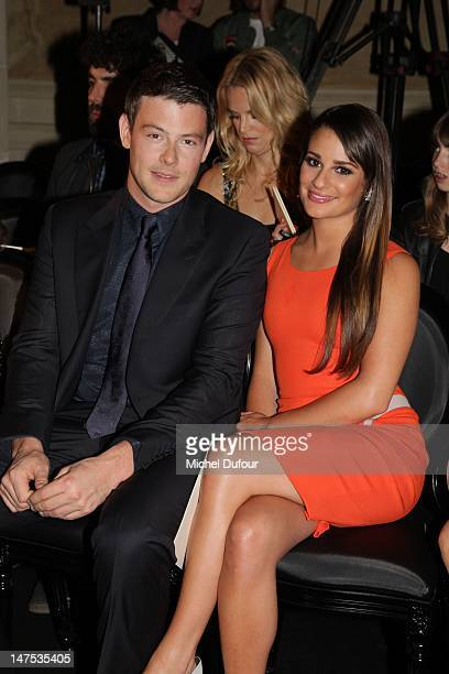 Cory Monteith and Lea Michele attend the Versace HauteCouture Show as part of Paris Fashion Week Fall / Winter 2012/13 on July 1 2012 in Paris France